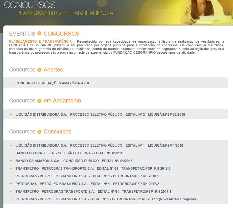 Inscrições Concurso Petrobrás